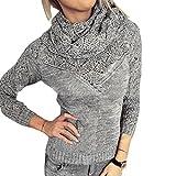 Wenyujh Damen Sweatshirt Stickpullover Pullover Herbst Winter Langarm Shirt Pulli mit Rollkragen Casual