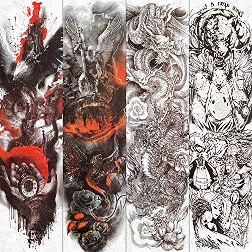 Für Warrior Kostüm Erwachsenen Dragon - Tattoo Aufkleber Wasserfest Große Full Arm Dragon Temporäre Tattoos Papier Für Männer Frauen Phoenix Warrior Wing Tattoos Körperkunst Fake Tattoo Aufkleber
