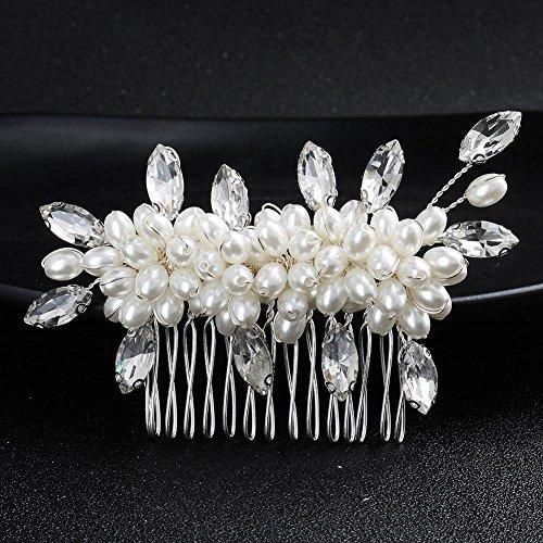 Haixin Charme Braut handgefertigte Perle Kopf Blume Kamm, Diamant Galvanik Legierung Haare kämmen, Größe: 9,5 cm * 7 - Kamm Braut Kopf