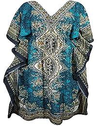 ab3c7e50d0 Mahi Store Indian Women's Beach Wear Maxi Free Size Viscose Kaftan/Maxi -  Turquoise