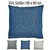 4 Trendy Living XXL Melange-Kissen mit RV und herausnehmbarer Füllung / 60x60 cm/Deko-/Zierkissen/Sofakissen/blau