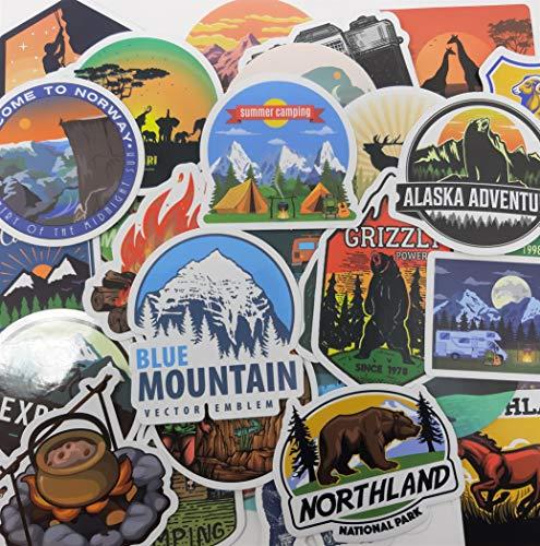 ND_50 Aufkleber für Camping, Landschaft, Berg, Abenteuer, aus Vinyl, für Computer, Skate, Motorrad, Deko, Mini-Sticker für Reisekoffer, Helm, Gitarre