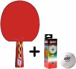 GKI Dragon Table Tennis Combo Set (GKI Dragon Table Tennis Racquet + GKI Premium 3 Star 40 Table Tennis Ball, Box of 3 - White)