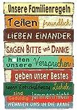 Bada Bing Planken Schild Familie Familienregeln bunt 40 x 60 Wandschild Bild Spruch Deko 601