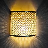 Homesake Crystal French Wall Sconce Lamp, Decorative Door Light,Gold and Crystal