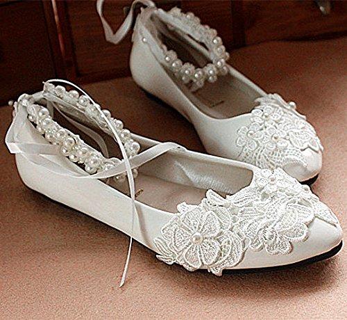 Xinjings Weisse Spitze Rose Perlen Hochzeit Schuhe Braut Wohnungen