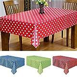 Kunststoff Einweg Tischdecke, vneirw Wasserdicht Außenbereich, Hochzeit Dot Tischdecke, Tisch,, plastik, rot, 137*274CM