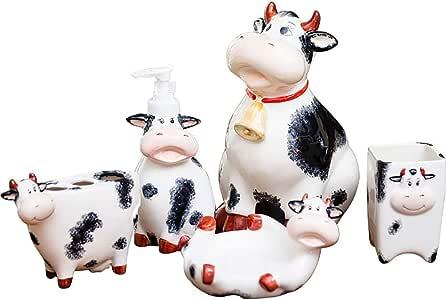 LOHOX 5-Pezzi Solo Set di Accessori da Bagno Set Ceramica Mucca Carina per Il Bagno Corpo-Bottiglie Ornamenti di Stoccaggio Porta Sapone Dentu-Bicchiere Porta Spazzolini da Denti