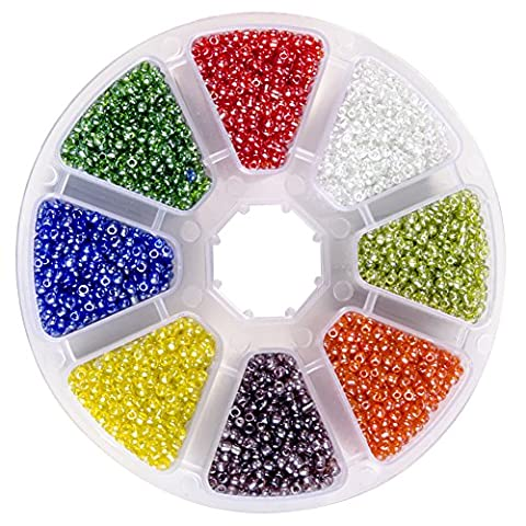 PandaHall Elite 1 Small Box Round Glass Seed Beads, Transparent Colors Lustered, Mixed Color, 2mm, Hole: