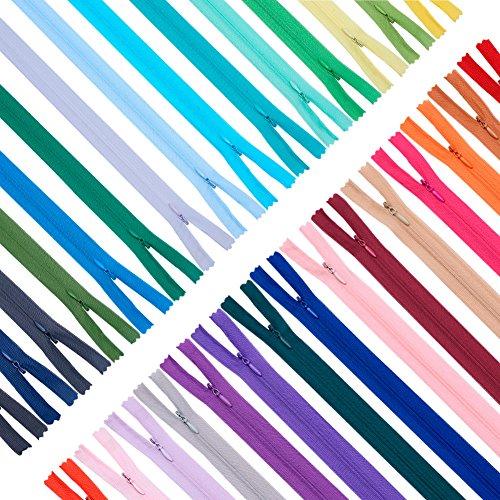 Benecreat 120pcs 25cm & 40cm invisibile nylon bobina cerniere per sartoria artigianato da cucire, 30 colori