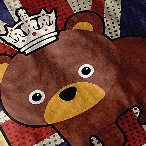 Mignonne Ours Drapeau Royal Royaume-Uni GB Identité Femme S-2XL Sweat à capuche le dos | Wellcoda Gris