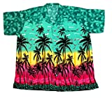 SAITARK - Camicia Hawaiana da Uomo, Motivo Estivo con di Palme - XX-Large - Verde Scuro