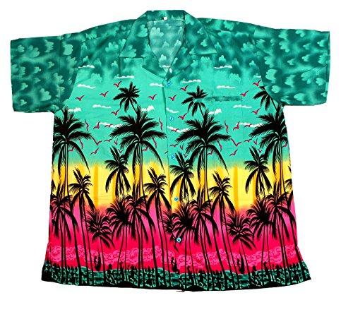 Camisa hawaiana para hombre, diseño de palmeras, para la playa, fiestas, verano y vacaciones - 2XL - verde oscuro