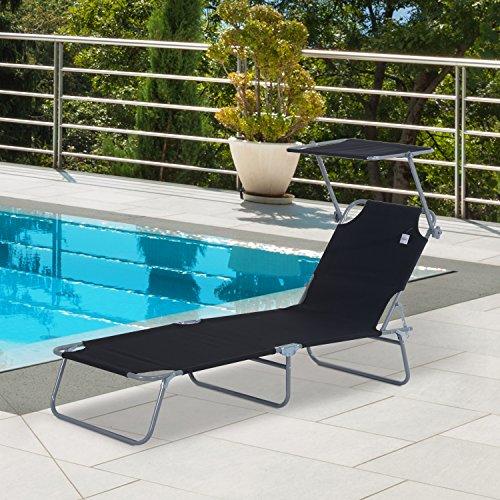 Outsunny Sonnenliege Gartenliege Wellnessliege Strandliege klappbar mit Sonnenschutz (Schwarz) - 2
