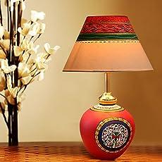 Exclusivelane 13 Inch Terracotta Handpainted Warli Matki Living Room Decorative Bedroom Modern Table Lamp (Red)