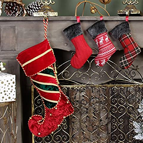 Luxury Christmas Stocking Set - Full Size Traditional Berry Red & Green Crushed Velvet Striped Elf Stocking With Gold Tassel, Piping And Jingle Bell Decoration, H45 x W20cm & Set of 3 Mini Handmade Stockings in Cable Knit, Tartan & Reindeer Designs, H22 cm - Festive Decorations That Are Full of Character!