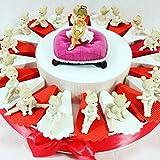 Sindy Bonboniere für Bonboniere Ballerinas mit Porzellan-Effekt, Kommunion, Mädchen, Kunstharz, Rosen, Weiß, Koralle, 4 cm