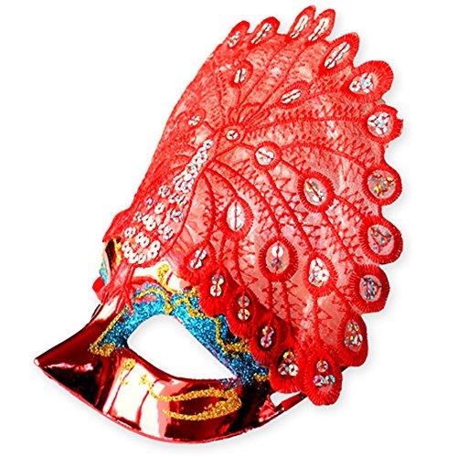 Maskerade,Halloween Maske Venedig Prinzessin Make-up Tanz Party halb Gesicht Pfau Maske rot Masquerade
