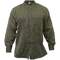 Shopoholic Fashion - Camisa para hombre con cuello mao, diseño de rayas negro negro X-Large
