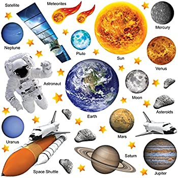 GET STICKING DÉCOR® EDUCATIONAL SPACE PLANET SOLAR SYSTEM WALL STICKERS  COLLECTION, PhotoRealAstro SSYS.3, Glossy Vinyl, Multi Color. (Large)