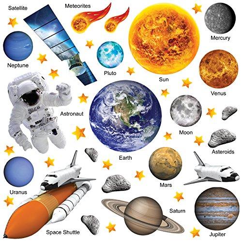 Wandtattoo Rakete (GET STICKING DÉCOR® Weltraum Sonnensystem Wandtattoo, Wandsticker Kollektion, PhotoRealAstro ssys.3, Glänzend Herausnehmbar Vinyl, Multi Farbe. (Large))