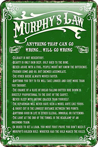 Murphy's Law Metal Sign 'Anything That Can Go Wrong.. Will Go Wrong', Green Colour -