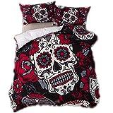 CHAOSE Parure de Lit Crâne 3D Polyester-Coton Rouge et Noir Housse de Couette (Rouge, 220x240cm(1.8M/2M Bed))