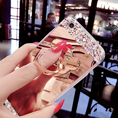 Galaxy Note 4 Hülle,Galaxy Note 4 Silikon Hülle,JAWSEU Schutzhülle Samsung Galaxy Note 4 Hülle [Glitzer Strass Ring Stand Holder], Luxus Glitzer Bling Diamant Strass Spiegel TPU Case für Samsung Galax Bär Spiegel-Rose Gold