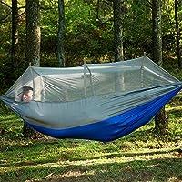 Bainuojia Outdoor Hamaca con mosquitera portátil Camping Hamaca de paracaídas Hamaca con Correas y sólida mosquetón algodón, Hamaca de Viaje Acampada, Senderismo, Selva, Playa, Azul