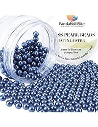 PandaHall Elite- 1 Boite/Environ 400pcs 6mm Lustre Satine Perle en verre Rond Beads Perles Assortiment Lot ,Pr creation de bijoux, Marine Bleu