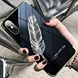 JAWSEU Coque Etui iPhone X Miroir Cristal Clair Silicone Case pour iPhone X, Ultra-Mince TPU Luxe Placage Miroir Housse de Protection Soft Gel Plastique Dur Plume Motif Shockproof Bumper Case