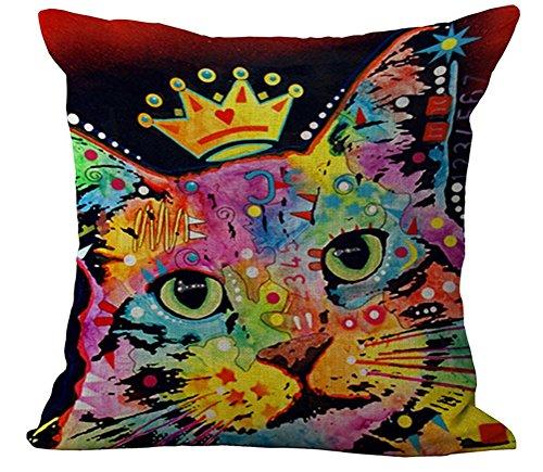 CHEZMAX Regenbogen mit 2Kissenhülle, Baumwolle, Leinen, Kissenbezug, Form pillowslip slipover mit Reißverschluss Patterned Kissenbezug für zu Hause, Sofa Stuhl, baumwolle, Cat King, WITHOUT FILLER (8 Stück King-schlafzimmer)