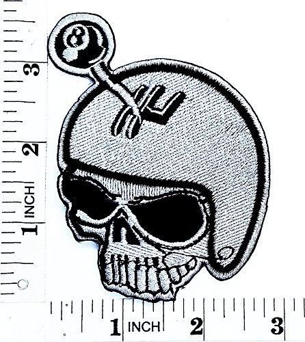 Totenkopf Lucky 8Rider Biker Motorrad Patch Hand bestickt und Bügelbild Symbol Jacke T-Shirt patches aufnäher (Ghost Rider Kind Kostüm)