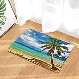 CUIMEISHEN Ocean Bath Teppiche Tropical Island Tourismus Sunshine Beach Kokospalme Rutschfeste Fußmatte Bodeneingänge Indoor Haustür Matte Kids Badematte 40X60CM Bad-Accessoires