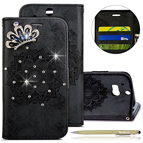 Kompatibel mit Hülle HTC ONE M8 Klapphülle Leder Flip Case Cover Glitzer Bling Strass Diamant Vintage Mandala Blumen Handyhülle Brieftasche Leder Tasche Handytasche Lederhülle,Schwarz