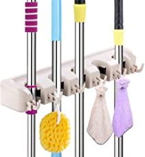 Hirai Plastic Multipurpose Wall Mounted Hanging Organizer Stand 5 Positions with 6 Hooks Holds up to 11 Tools, 40.5x6.2x10.9cm (White)