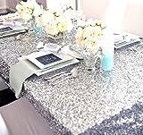 ShinyBeauty - Tovaglia con intarsio argentato, misura a scelta, tovaglia con glitter, paillettes, Lino, Silver, 60''*60