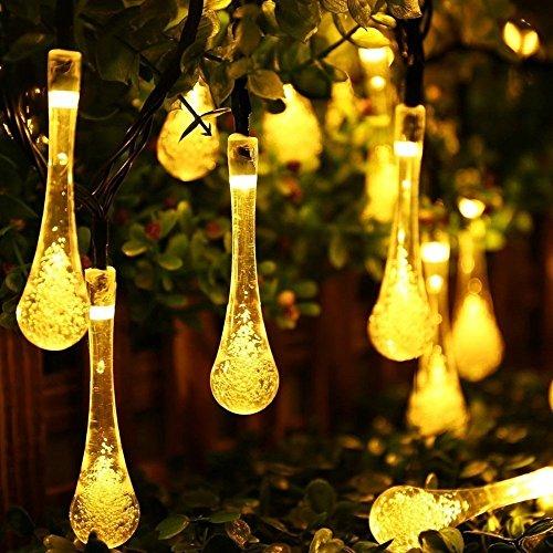 LED Solar Lichtkrette 6.5M 30 LEDs Solar String Lichter Solarbetrieben Lichterkette Außenlichterkette Wasserdicht Dekoration für Weihnachtenbeleuchtung, Garten, Party, Hochzeit 8 Modi
