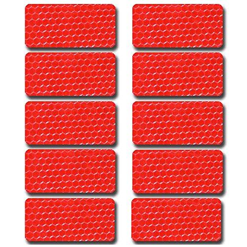 Maiqiken 10pcs nastro adesivo riflettente rosso universale auto moto bicicletta stickers 60 x 30mm