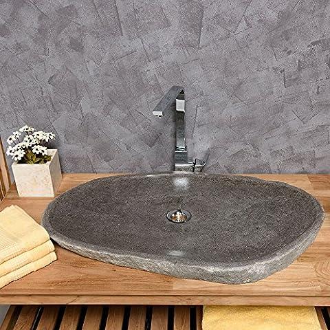 WOHNFREUDEN Naturstein Waschbecken oval 70 - 80 cm extraflach ✓ einzeln fotografiert Auswahl Steinwaschbecken aus Bildergalerie ✓ Lavabo ✓ Aufsatzwaschbecken aus Stein für ihr Badezimmer ✓