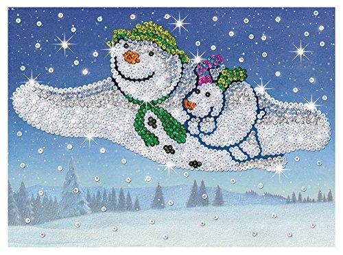 MAMMUT 8021510 - Sequin Art Paillettenbild, Der Schneemann und der Schneehund, Komplettset mit Styropor-Rahmen, Pailletten und weiterem Zubehör, Bastelset für Kinder ab 6 Jahre