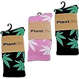 plantlife 3x Calzini unisex modello marijuana in dimensione universale colori 2x nero/verde e 1x rosa/bianco