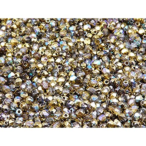 100pc Czech Perle Sfaccettato vetro, Fire-Polished Beads,Rotondo 3mm Crystal Golden Rainbow