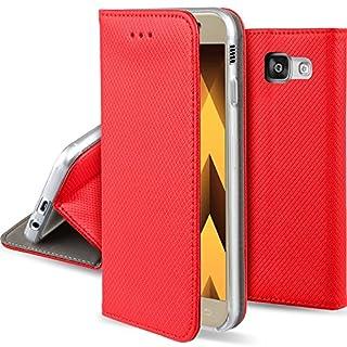 Moozy Hülle Flip Case für Samsung A3 2017, Rot - Dünne magnetische Klapphülle Handyhülle mit Standfunktion