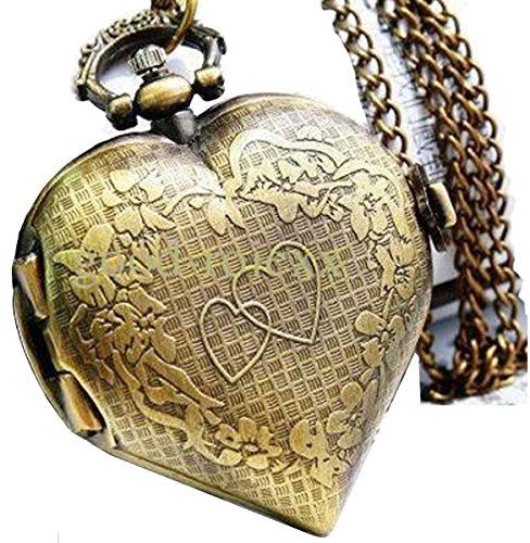 LMP3Creation Bronze Classic Vintage Retro Antique Love Heart Shape Chain Pendant Necklace...