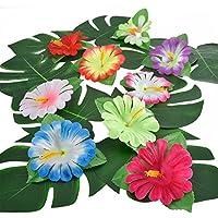 32 Piezas Hojas Tropicales Hibiscus de Simulación para Decoración de Fiesta Hawaiana Luau Selva