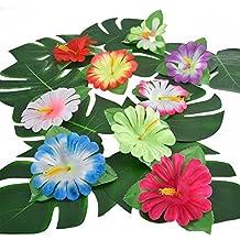 32 Piezas Hojas Tropicales Hibiscus de Simulación para Decoración de Fiesta Hawaiana ...