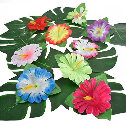 mulation Hibiskus Tropische Blätter für hawaiianische Luau Dschungel Party Dekoration ()