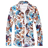 YOUTHUP Chemise Hommes Casual Style Hawaienne Funky Manche Longue Imprimee Fleurs Multicolore, Design 3, M - Chemise poitrine 42 inches