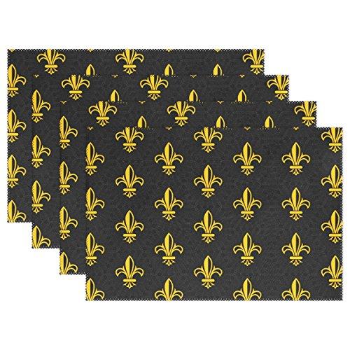 naanleretro Gold Fleur De LIS Platzdeckchen Set von 1/4/6waschbar Tisch Matte für Küche Esstisch 30,5x 45,7cm Platzsets Traditionell multi (Chevron-kunststoff-tabelle Für)